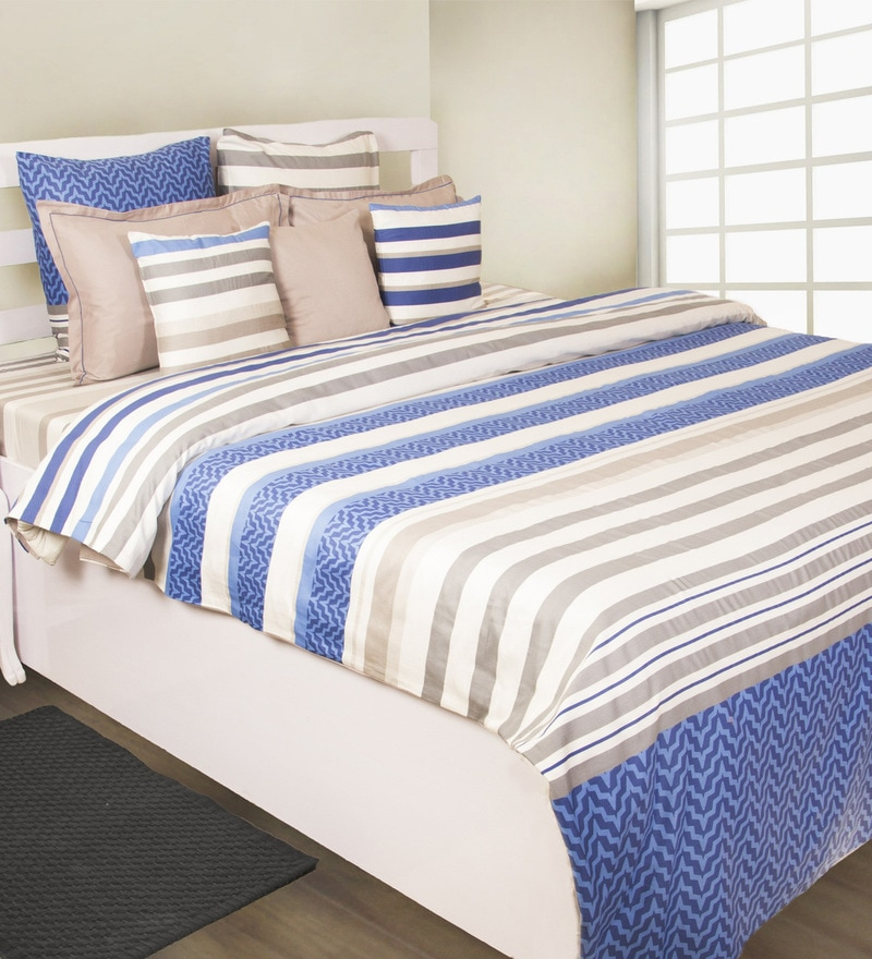 Navy 100% Cotton King Size Bedsheet - Set of 3 by House This