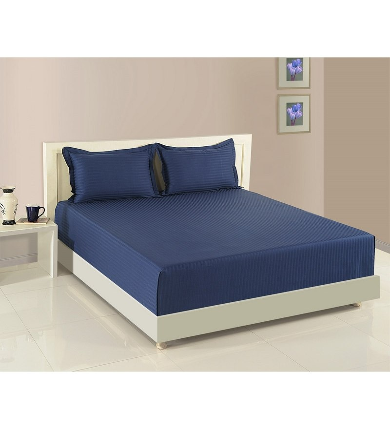 Navy Blue Cotton Fitted Bedsheet - Set of 3 by Swayam