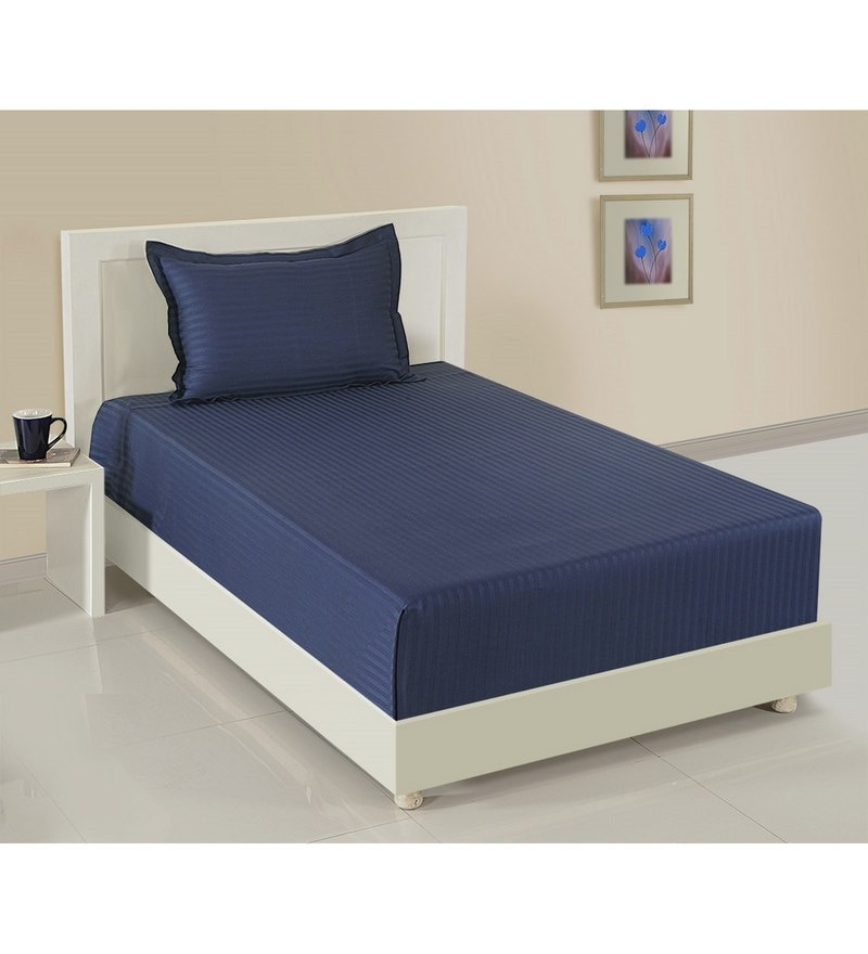 Navy Blue Cotton Single Size Bedsheet - Set of 2 by Swayam