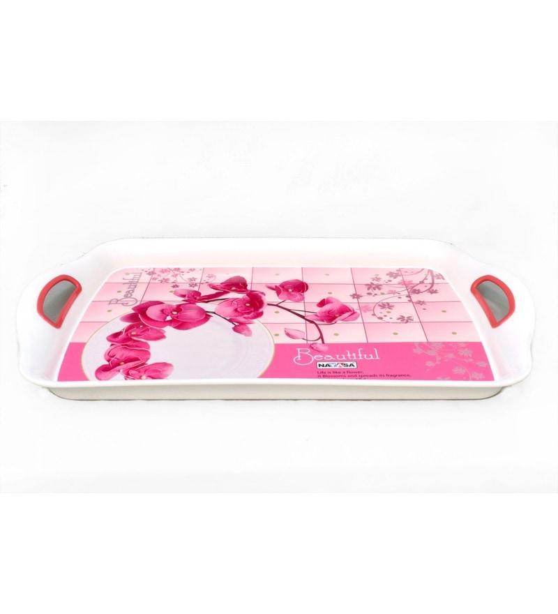 Nayasa Ruby Pink Plastic Serving Trays- Set of 3