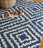 Blue PET 91 x 63 Inch Geometric Pattern Area Rug by The Rug Republic