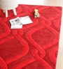 Red Wool 91 x 63 Inch Abstract Pattern Area Rug by The Rug Republic