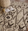 Taupe and Black Wool 91 x 63 Inch Indian Ethnic Area Rug by The Rug Republic