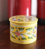 Pottery Multicolour Ceramic Round Box - Set of 2