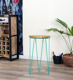 Neon Wave Bar cum High Dining Stool in Turquoise & Natural Finish