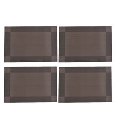 Nestroots Self Woven Dining Washable Brown Pvc Placemats - Set Of 4