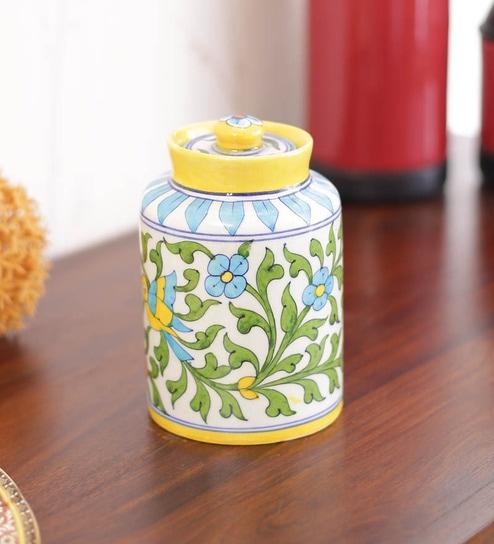 Buy Blue Ceramic Floral Jar By Neerja Online Jaipur Blue Pottery