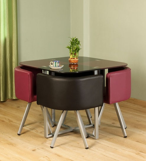 Neon 4 Seater Dining Set In Black Purple Colour By Durian