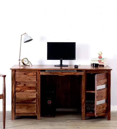 Upto 45% Off On Study & Laptop Tables By Pepperfry | Newport Study Table in Warm Walnut Finish by Woodsworth @ Rs.31,899