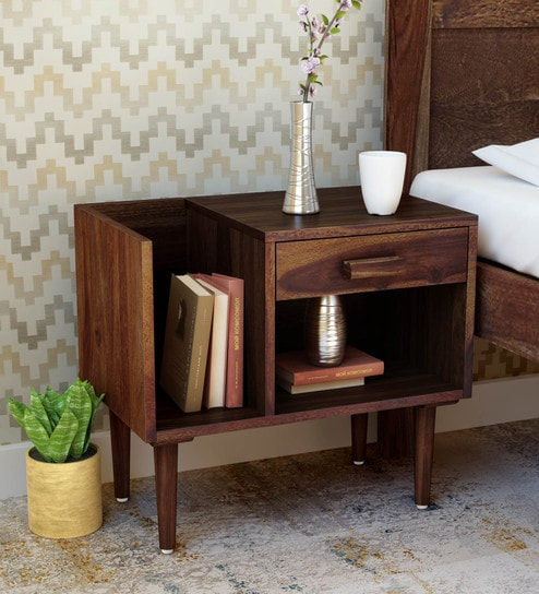 aa17e10557a Buy Nexo Solid Wood Bed Side Table with Book Shelf on Right in Provincial  Teak Finish by Woodsworth Online - Contemporary Bedside Tables - Bedside  Tables ...