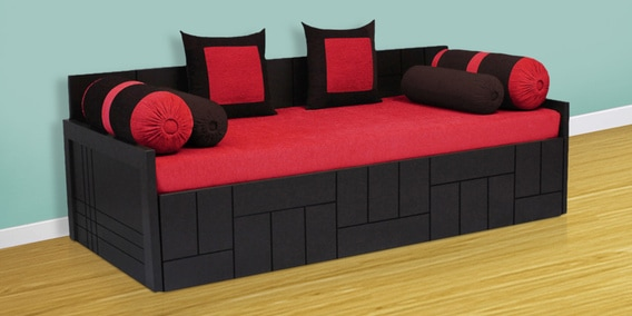 Nelson Sofa Cum Bed With 2 Cushions 4 Bolsters In Red Colour By Auspicious Home