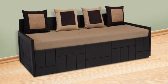 Buy Nelson Sofa cum Bed with 4 Cushions in Brown Colour by ...