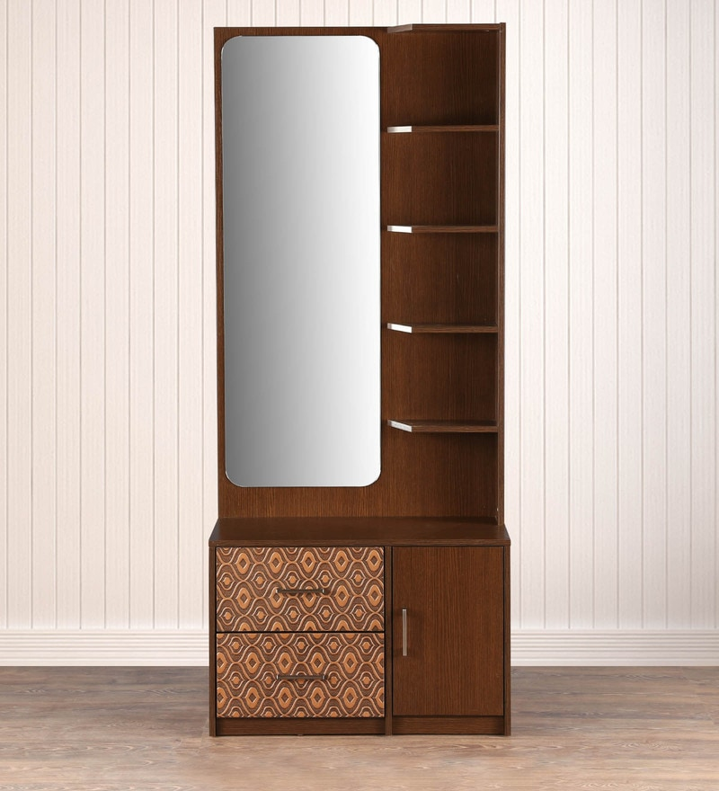 Buy Nebula Dressing Table With Mirror In Coffe Brown