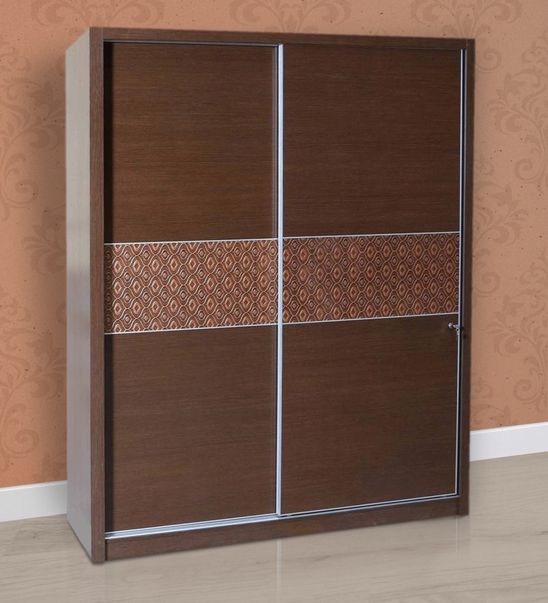 Nebula Sliding Two Door Wardrobe in Dark Brown Colour by HomeTown
