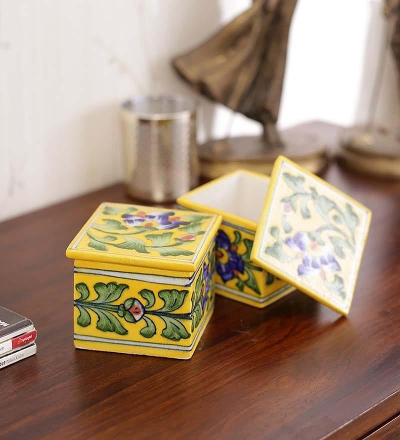 Pottery Multicolour Ceramic Square Box by Neerja