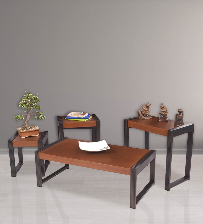 Nesting Table  Set with Center Table in Walnut Finish by ARRA