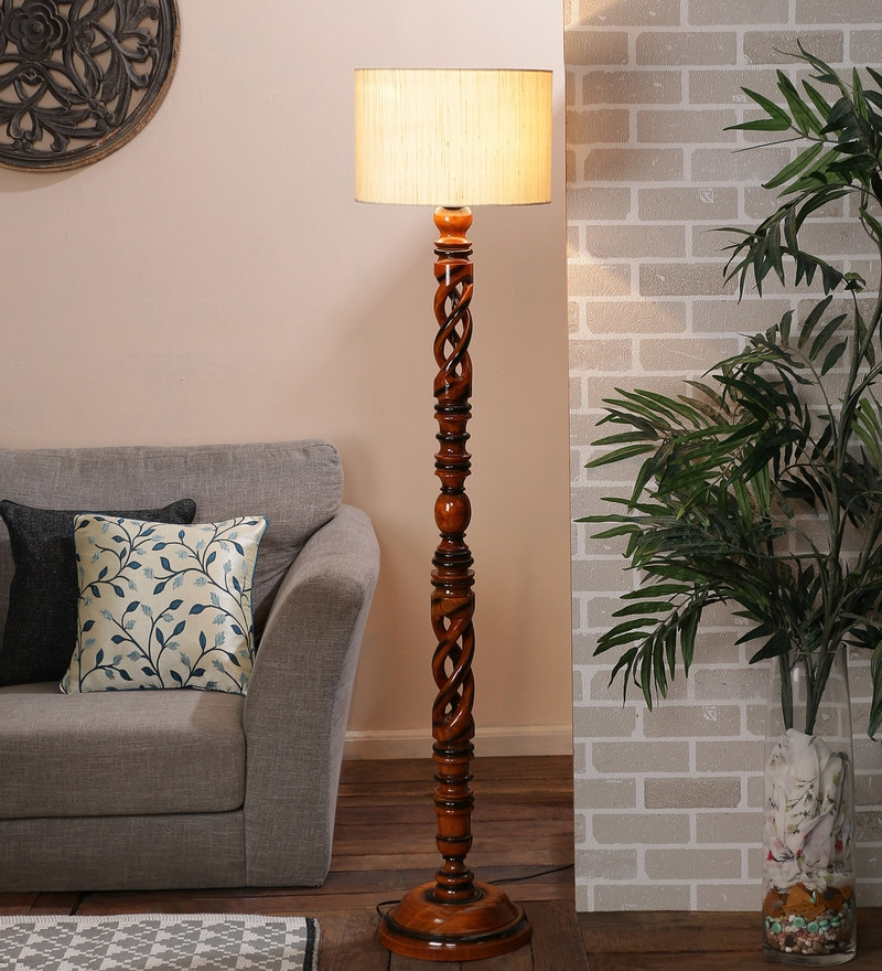 Beige Cotton Floor Lamp by New Era