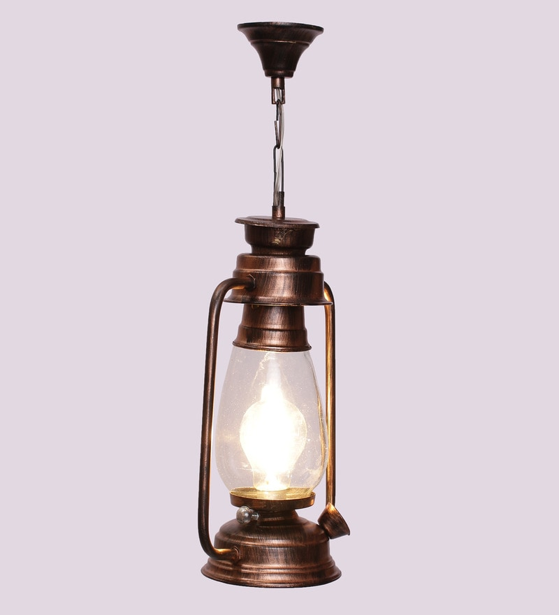 Clear Glass Copper Finish Hanging Lantern by New Era