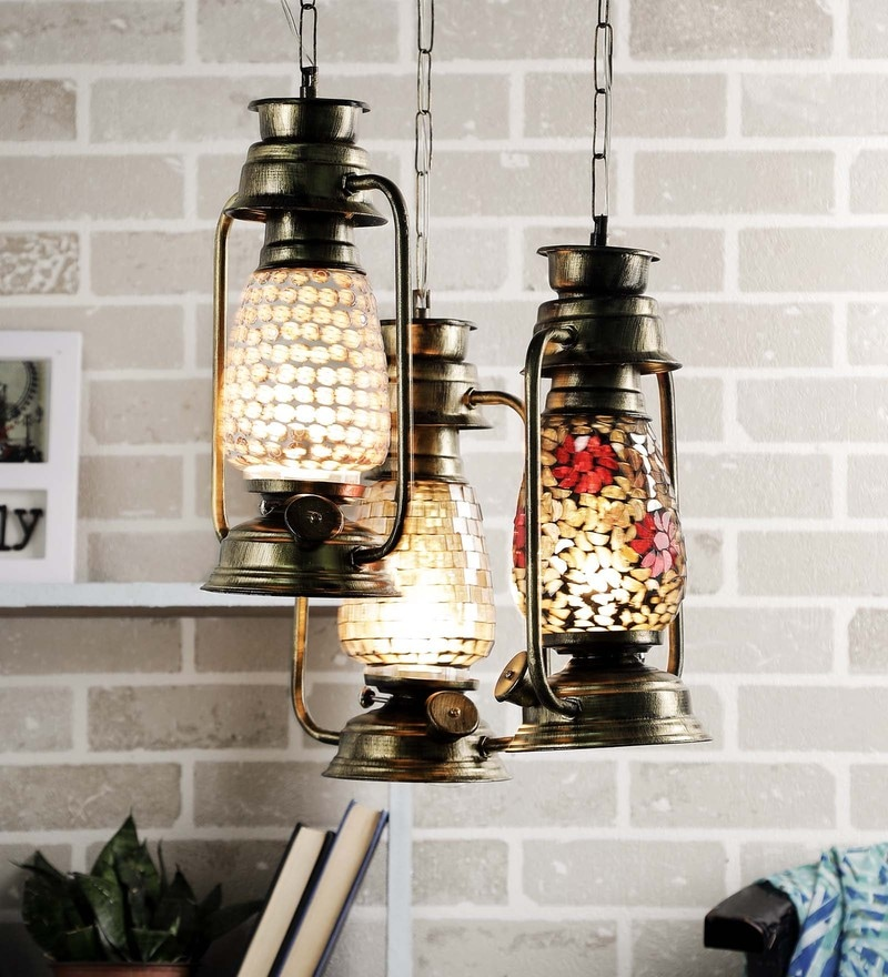 Multicolour Glass Lantern by New Era