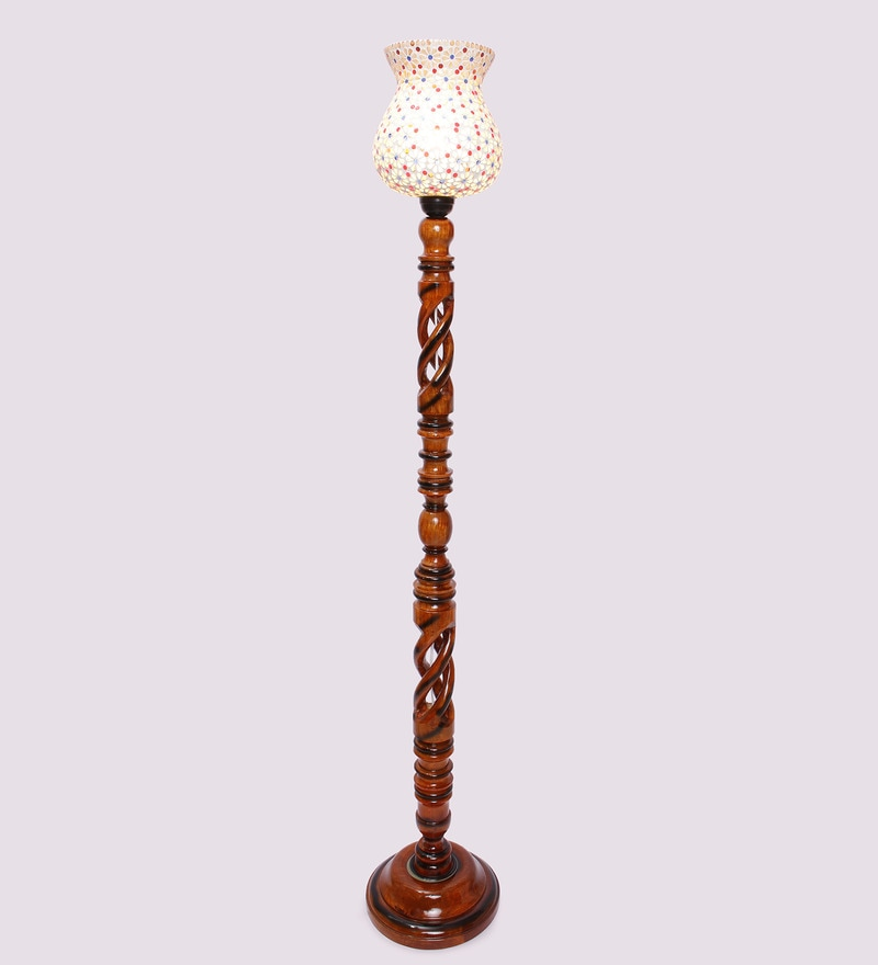 Multicolour Wooden & Glass 11 x 11 x 58 Inch Floor Lamp by New Era