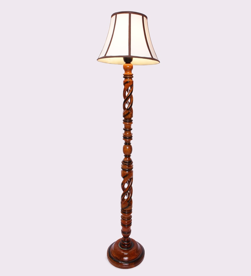 Multicolour Wooden 14 x 14 x 59 Inch Floor Lamp by New Era