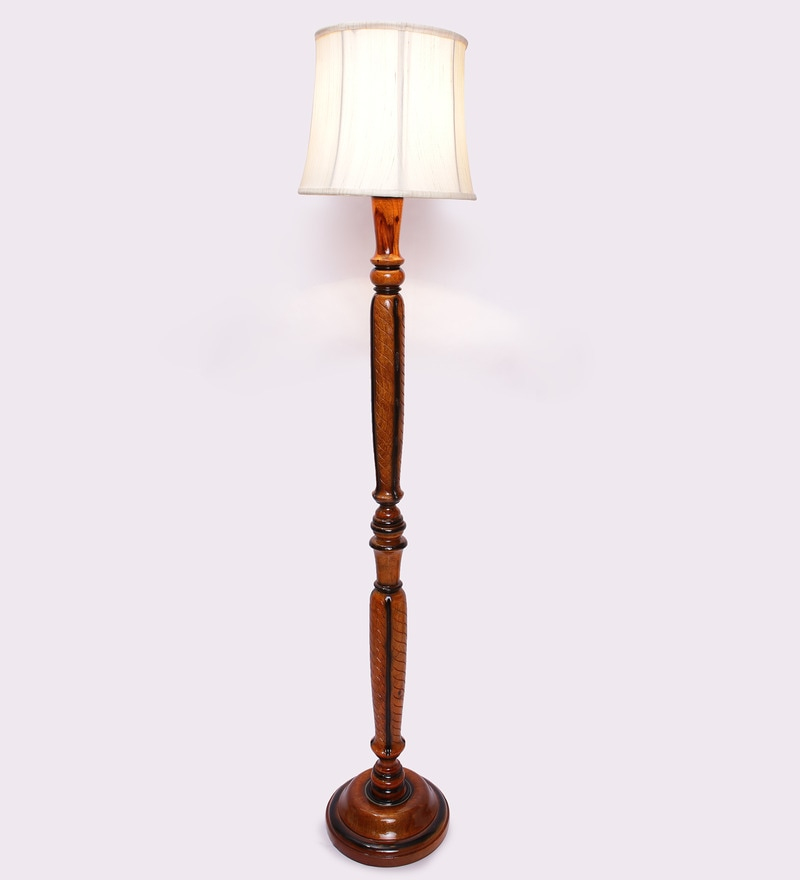 Beige Wooden 12 x 12 x 60 Inch Floor Lamp by New Era