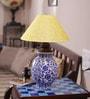 Neerja Blue Pottery Multicolour Ceramic Handiya Leaves & Flowers Lamp Base