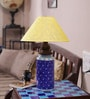 Neerja Blue Pottery Blue Ceramic Burnee Dotted Pattern Lamp Base