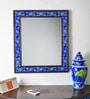 Neerja Light Blue & Pink Wood & Ceramic Pottery Mirror