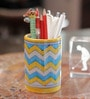 White & Yellow Ceramic Pottery Pen & Pencil Holder by Neerja