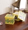 Pottery Multicolour Ceramic Square Box by Neerja