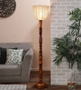 Brown Cotton Floor Lamp by New Era