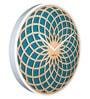Nextime Blue Wooden 13.7 x 1 Inch Sun Round Wall Clock