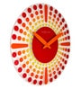 Nextime Red Glass 16.9 x 1 Inch Dreamtime Round Wall Clock