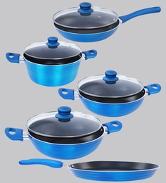 Nirlon Blue Aluminium Cookware Combo Gift - Set Of 5 - 1688786