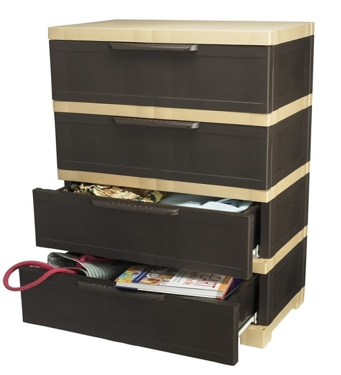 Nilkamal Chester -14 With 4 Drawers (Weather Brown And Biscuit) by ...