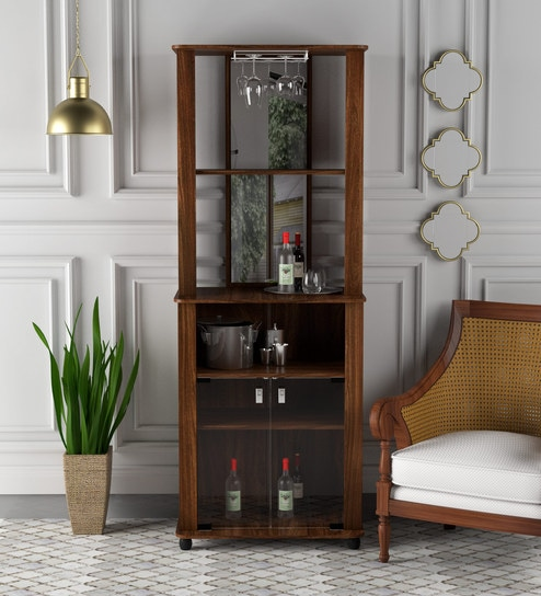 Buy Nikka Bar Cabinet In Walnut Brown Finish By Mintwud Online