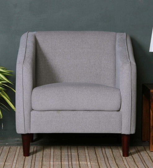 Nina One Seater Sofa In Ash Grey Colour By CasaCraft