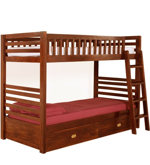 Buy Nino Solid Wood Bunk Bed With Storage In Honey Oak Finish By