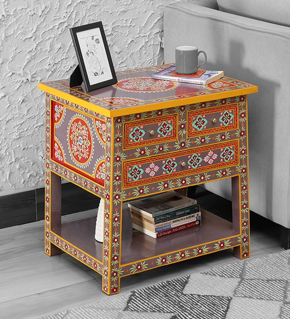 Nimilita Solid Wood Hand Painted, Hand Painted Indian Bedside Cabinet
