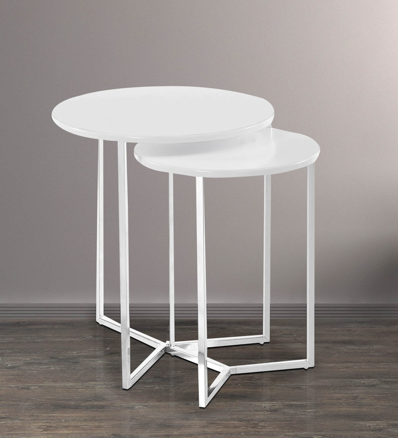 Niko Set of Tables in White Finish by @ Home