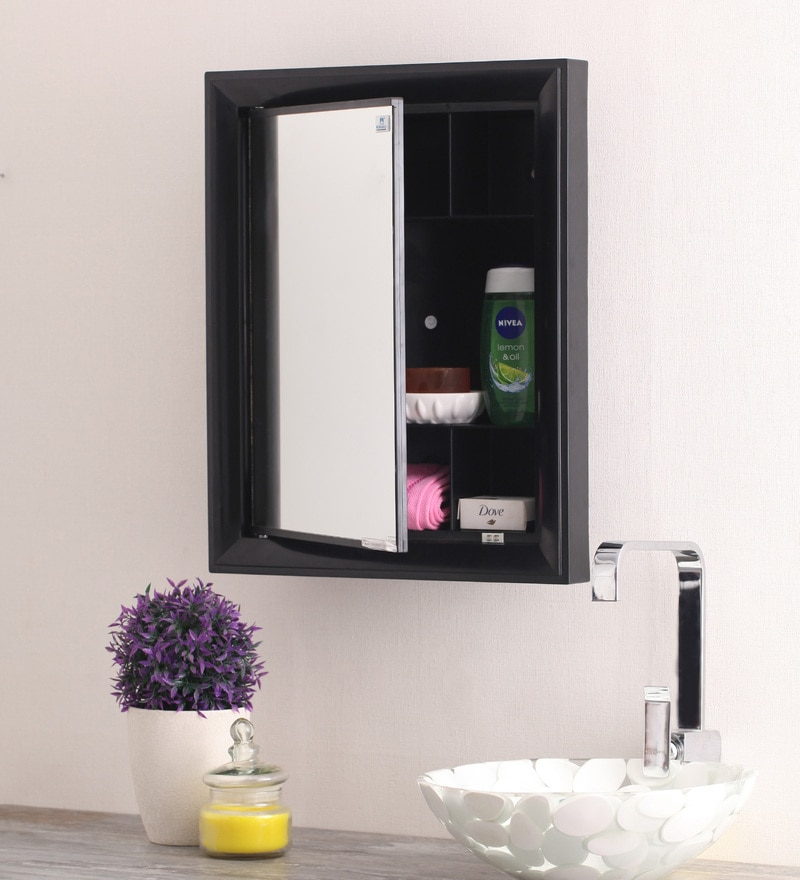 Gem Black Mirror Cabinet by Nilkamal