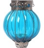 Ni Decor Blue Metal & Glass Big Rolly Polly  Tea Light Holder