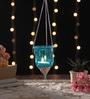 Ni Decor Blue Metal & Glass Hanging Lantern