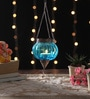 Blue Metal & Glass Small Rolly Polly Tea Light Holder by Ni Decor
