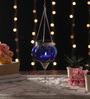 Ni Decor Blue Metal & Glass Small Rolly Polly  Tea Light Holder