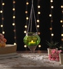 Ni Decor Green Metal & Glass Small Rolly Polly  Tea Light Holder