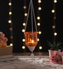 Orange Metal & Glass Hanging Lantern by Ni Decor
