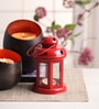 Red Metal & Glass Decorative Lantern Tea Light Holder by Ni Decor