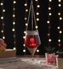 Red Metal & Glass Hanging Lantern by Ni Decor